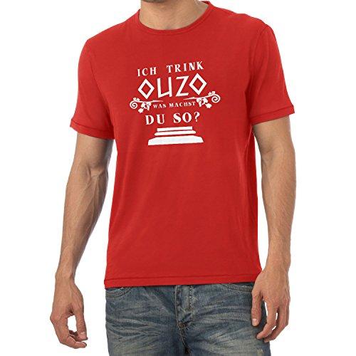 TEXLAB - Ich trink Ouzo, was machst du so? - Herren T-Shirt Rot