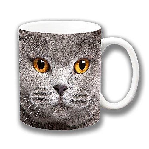 Grau Motiv Katze Bernstein Augen Keramik Tasse Kaffee-Geschenk-Weihnachten Mitgebsel
