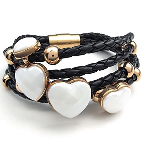 women-stainless-steel-link-bracelet-white-gold-black-length-203-cm-bracelet-for-women-by-aienid