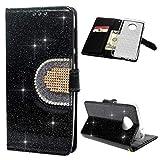 Edauto Motorola Moto G6 Plus Hülle Case HandyHülle Leder Flipcase Glitter Diamant Mehrfache Karte Spiegel Schutzhülle Bookstyle Brieftasche Ständer Kartenfächer Magnetverschluss Tasche Schwarz