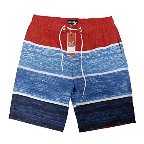 GWELL Herren Badeshorts Beachshorts Boardshorts Badehose Sommer Rot