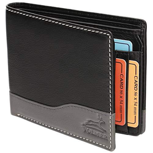 Fa.Volmer ® Ledergeldbörse Echtleder Querformat mit RFID-Schutz Slim Design Manhattan Serie #MW114 (schwarz/grau) -