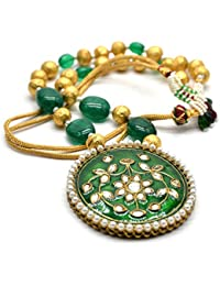 IKraft Indian Bollywood Gold Plated Kundan Pearl Green Stone Traditional Jewelry Necklace Gift For Wedding Party...