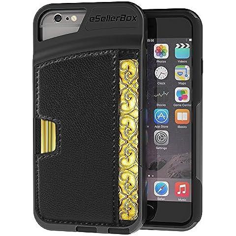 iPhone 6/6S Funda, por esellerbox Heavy Duty Full-Body resistente carcasa de 2capas de piel sintética ranura de la tarjeta Wallet Case Cover para iPhone 6/6S (4.7), compatible con Apple iPhone 6