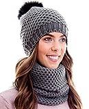 Set invernale composto da sciarpa da donna e berretto in maglia coordinato. Berretto con pompon. Colori e design di tendenza. , Winter Set:1A-dunkelgrau