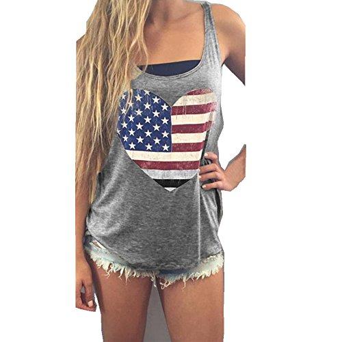 Ouneed® Femme Ete Coeur Drapeau Americain Hauts Tshirt sans manches (S)
