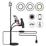 Koopower LED Strahler Flash Selfie Licht Ring mit Handyhalter für Liveübertragung,3 Leuchtmodi und 10 Helligkeiten Stu