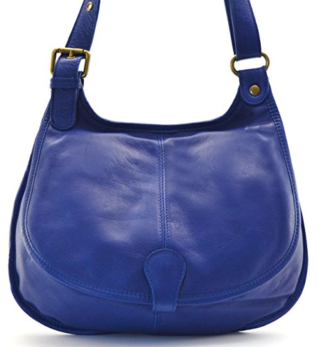OH MY BAG Handtasche aus leder, damen, umhängetaschen Modell M Königsblau