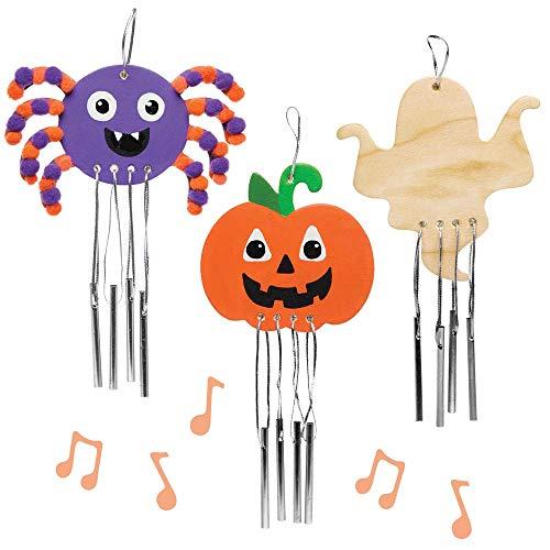 """Baker Ross Windspiele aus Holz """"Halloween"""" – perfekt für Bastelarbeiten und Dekorationen zu Halloween (4 Stück)"""