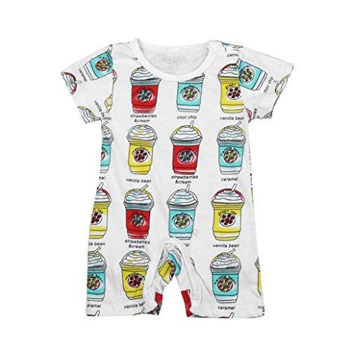 Longra Bébé Garçons Filles Impression Mamelon Combinaison Le Maillot de Corps Vêtements Outfits (6M, A)