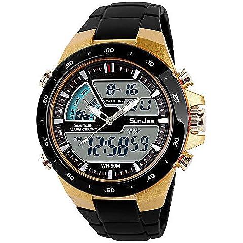 SunJas Reloj Deportivo para Hombres Resistente contra Agua de 50m Pulsera Digital con Luces Banda Desmontable de Multifunciones para Deportes Exteriores