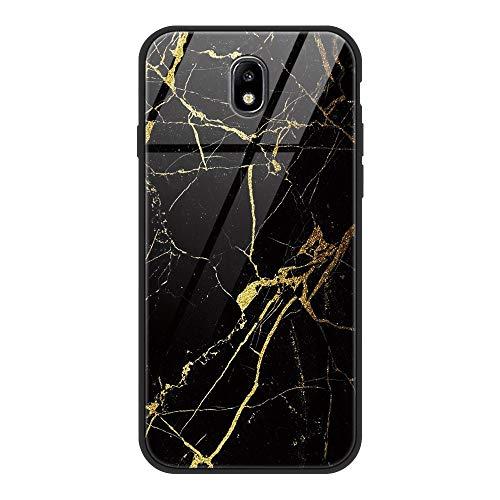 ZhuoFan Coque Samsung Galaxy J7 2017, Etui en Silicone 3D Arrière en Verre Trempé avec Motif Dessin Antichoc Housse de Protection Case Cover Coque pour Téléphone Samsung GalaxyJ7, Marbre Noir
