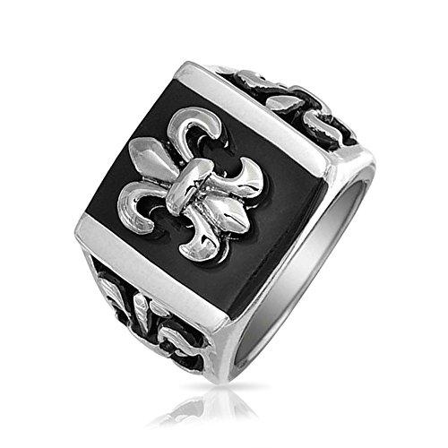 Bling Jewelry Herren Schwarz Fleur De Lis Quadrat Siegelring Für Herren Edelstahl - Fleur Lis-mardi Gras De