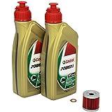 Castrol 4055029022065 Número 1 Cambio de aceite Castrol Power 1 juego 10W / 40 de aceite del motor del filtro de aceite HiFlo anillo obturador para Suzuki DR-Z 400 E conveniente para el año 2000-2007 (modelo: BF1111) de cobre.