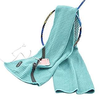 Almondcy-Leichtes Sport-Handtuch mit Reißverschluss-Tasche hält Telefon und Schlüssel, ideal für Strand, Reisen, Fitness, Schwimmen, Laufen, Yoga, Golf und andere Sportarten.( Hellblau)