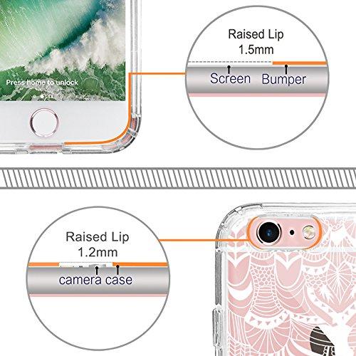iPhone 6s Hülle, iPhone 6s Case, MOSNOVO Henna Mandala Blumen Weiß Muster Transparent TPU Bumper mit Hart Plastik Durchsichtige Schutzhülle für Apple iPhone 6 6s (4,7 Zoll) (Mandala Henna Tattoo) Floral Tassel