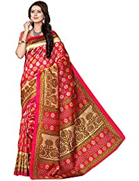 SAREE MALL Art Silk Saree With Blouse Piece (SRJ001_Red_Free Size)