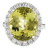 12.16carat Beryl Natural 14K oro blanco anillo de diamante