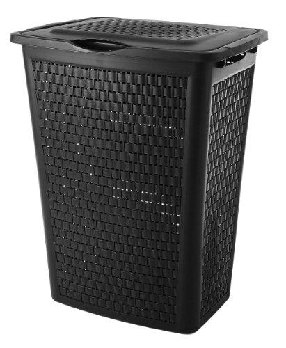 Rotho sundis portabiancheria country nero effetto rattan - robusto portabiancheria in plastica, 50 litri - cesto per la biancheria leggero molto aerato - facile da pulire - 45 x 33.8 x 57.5 cm - nero