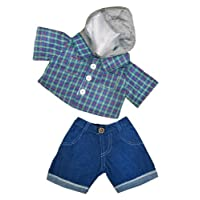 """Skater Hoodie with Denim Pants Teddy Bear Outfit (16"""")"""