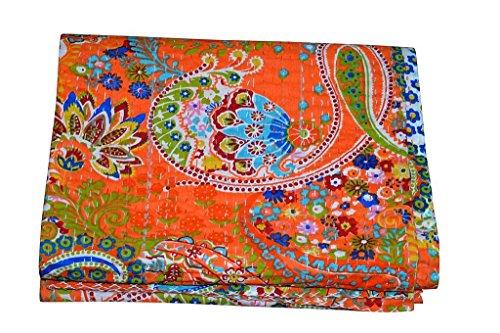 Kiara indischen handgefertigt Quilts Baumwolle Floral Print Reversible Kantha Paisley Muster Tagesdecken & coverlets Stitch Überwurf Twin Size/Queen Size, Baumwolle, Fruit Orange, Twin -