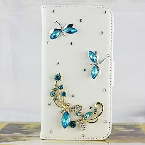 Well-Goal 1pcs Bling Rhinestone Blue Dragonfly Folio Leather Back Cover Case for Samsung Galaxy S5