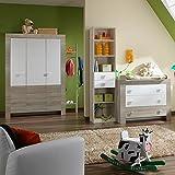 5-tlg Babyzimmer weiß - Eiche sägerau Wickelkommode Babybett Kleiderschrank
