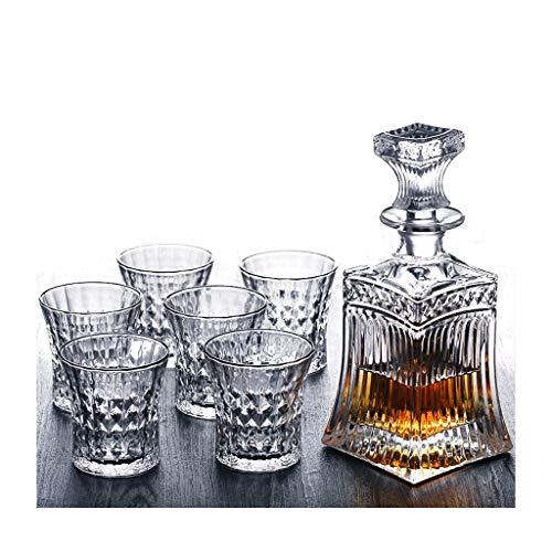 Creative Whiskey Cup Spiritueux Cave À Vin Ensemble Verre À Vin En Verre À Verre Bière Verre Carafe À Vin Ensemble 7 Pièce Creative Gravure JXLBB