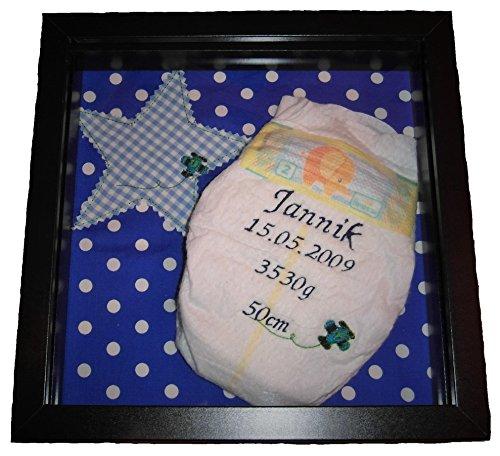Windel bestickt mit Geburtsdaten, Taufgeschenk, Geburtsgeschenk, Babydekoration, Kinderzimmer, mit Rahmen