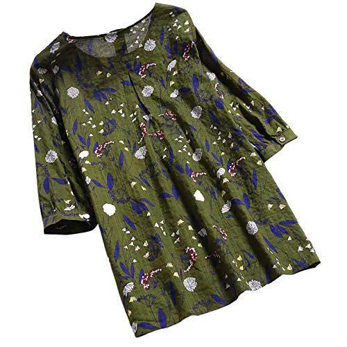 OSYARD Damen Bedrucktes Hemd Plus GrößE O-Ausschnitt, Damen DREI Viertel Sleeve Drucken Lose Bluse Pullover Knopf Tops Shirt (4XL, Grün)