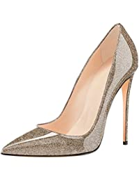 Femmes Tribunal Chaussures Cheville Pointu Doigt de pied Stylet Haute Talons Noir Mode Robe Fête Pompes Grand Taille 35-45 , Brown , EUR 45/ UK 10.5