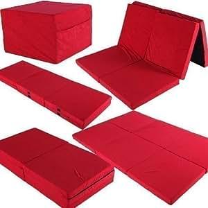 Twinn Doppel - Klappmatratze 192x128x7 Gästebett Reisebett Matratze mit Taschen (rot)