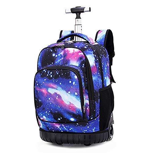 Boi, grande zaino con ruote, da 48 cm, multifunzione, impermeabile, da viaggio, per ragazzi, studenti, viaggi, scuola, libri, laptop, per lavoro, adulti Starry Sky 19-inch