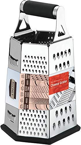 KICHLY [6 Seite ] Reibe - Edelstahl Vierkantreibe - 24 cm Höhe - Lebensmittelreibe für Hart- & Weichkäse, Gemüse, Ingwer, Zitrone, Orange, Nüsse