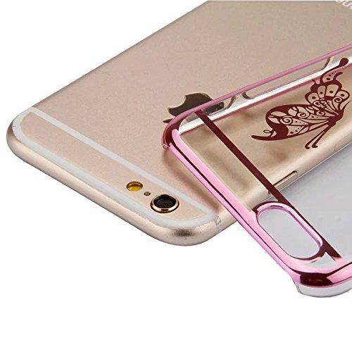 Etsue Dur Clear PC Coque pour iPhone 7, Luxe Bling [Papillon Argent] Plaquer par Galvanoplastie Diamant Glitter Cristal Ttransparent Coquille Dure Aérien Protecteur Case étui pour iPhone 7 + 1 x Bleu  Papillon Rose