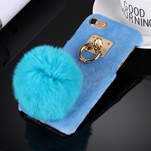 GHC Cases & Covers, Für iPhone 6 & 6s Plüsch Stoffabdeckung PC Schutzhülle mit Pelzkugel Kettenanhänger ( Color : Magenta ) Blue
