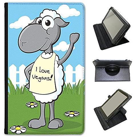 véganisme veganliebende Animaux Case Cover/Folio en simili cuir pour le Apple iPad Samsung Galaxy Tab 3 7 inch Sheep Wearing I Love Vegans