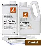 HPS® BOEN Parkett Pflegeset für DUNKEL geöltes Parkett- 1lt. Boen Floor Soap - 1lt. Boen Oil Freshen Up DUNKEL inkl. Pflegetücher Set