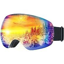 LiSmile Gafas de Esquí,Gafas de Nieve de Snowboard Unisex con Anti-niebla y Tratamiento de Protección UV400, Lentes Gran Angular y Esférica,para Mujeres, Hombres y Niños,Color Azul