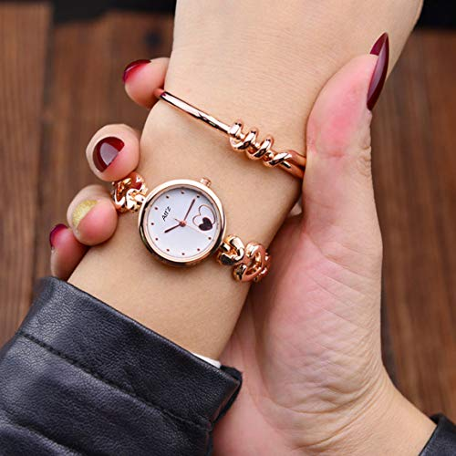 Horse Head Analogue Multi Colour Dial Gold Metal Strap Heart Women's & Girl's Watches -BH1