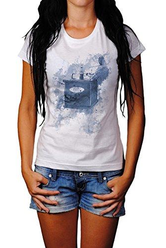 Kaffemuehle Vintage Lady T- Shirt , Stylisch aus Paul Sinus Aquarell Cyan Style