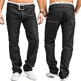 Jeans Hommes | (Regular Fit) pantalon de loisirs élégant foncé avec coutures cirés légers de coton pur, enduits | H1656 de Jaylvis
