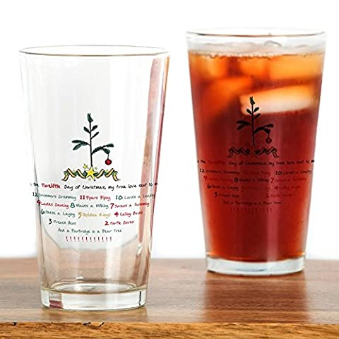 CafePress – 12 Days of Christmas – Pint-Glas, 16 oz Trinkglas