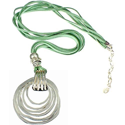Abstrakt Anhänger massives Silber grün fashion Modeschmuck Halskette Wildleder (Kordelzug-wildleder-beutel)