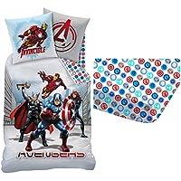 Marvel Avengers City–Bettwäsche (3)–Bettbezug 140x 200cm–Kopfkissenbezug 63x 63cm–Spannbetttuch 90x 190cm