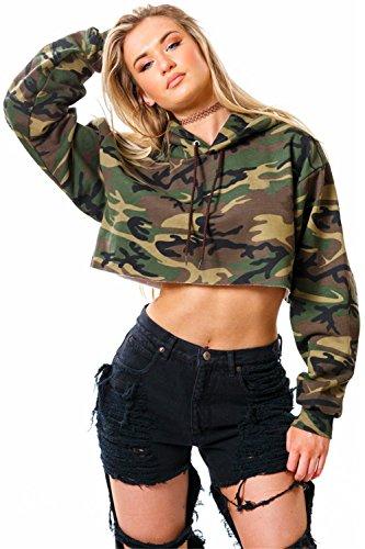 Camo Crop (SZIVYSHI Langarm Militär Camo TarnungKapuze Kapuzenpullover Hoodie Kurze Crop Sweatshirt T-Shirt Boxy Oberteil Top Armee Grün S)