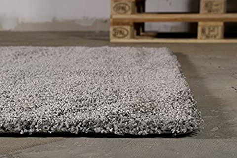 Moderner glänzender Hochflor (140 x 200 cm, grau) Shaggy Teppich Uni einfarbig