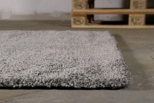 "Moderner glänzender Hochflor (120 x 180 cm, grau) Shaggy Teppich Uni einfarbig ""Palermo"""