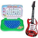 Mahvi Toys Combo Of Mini English Educational Learning Laptop & Rockband Musical Guitar ( Multiolor)