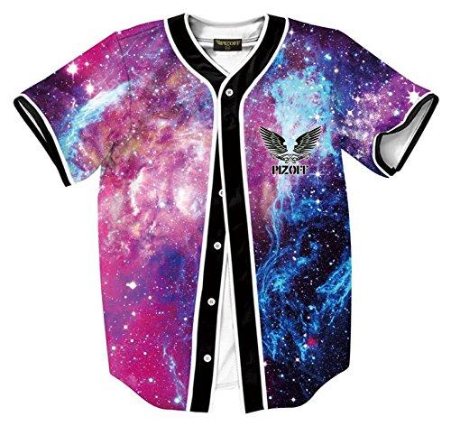 Pizoff Herren Hip Hop 3D Druck Baseball Hemd Urban Classic Baseball Jersey Bunt Galaxy Stern Himmel (Galaxy Jersey)
